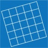 A small grid on a blue background