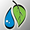 NEWA logo, a blue water drop and a green leaf