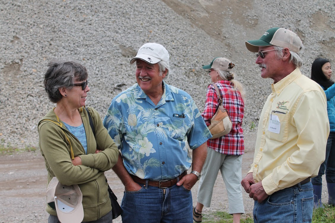Alice Wise with Wayne Wilcox, emeritus grape pathologist, and Rick Dunst, Double A Vineyards.